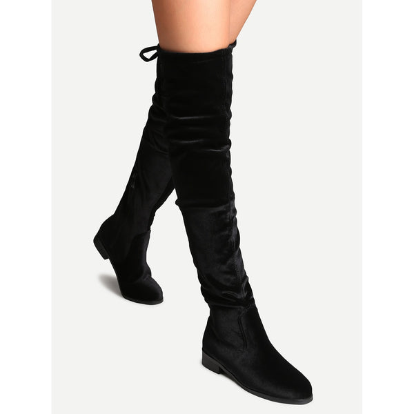 ecc43cb25f2 ... Black Faux Suede Side Zipper Tie Back Over The Knee Boots - Anabella s  ...