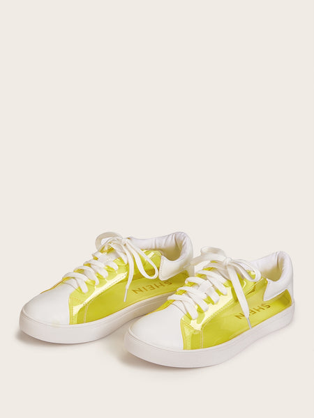 Lace-up Front Clear Low Top Sneakers