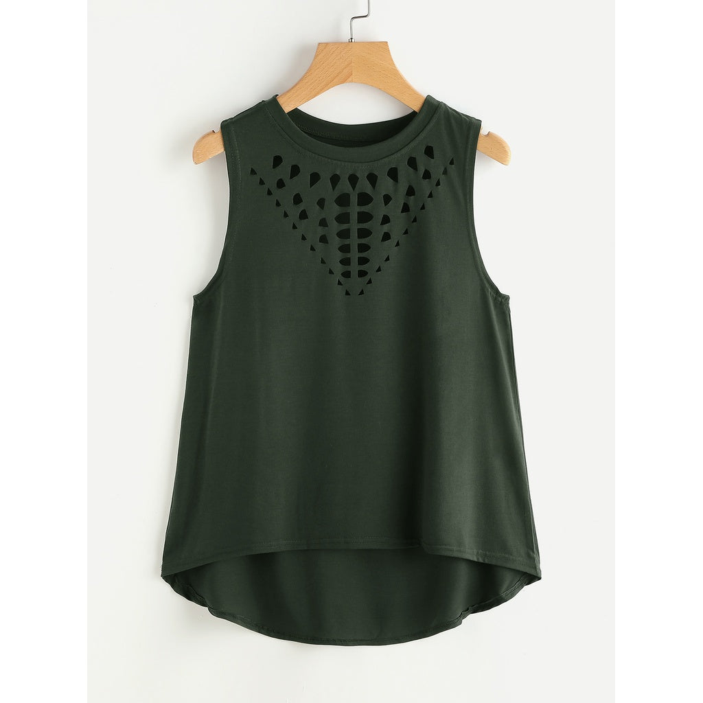 Laser Cut Dip Hem Tank Top ARMY GREEN - Anabella's