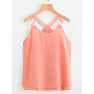 Layered Strappy Back Cami Top PINK
