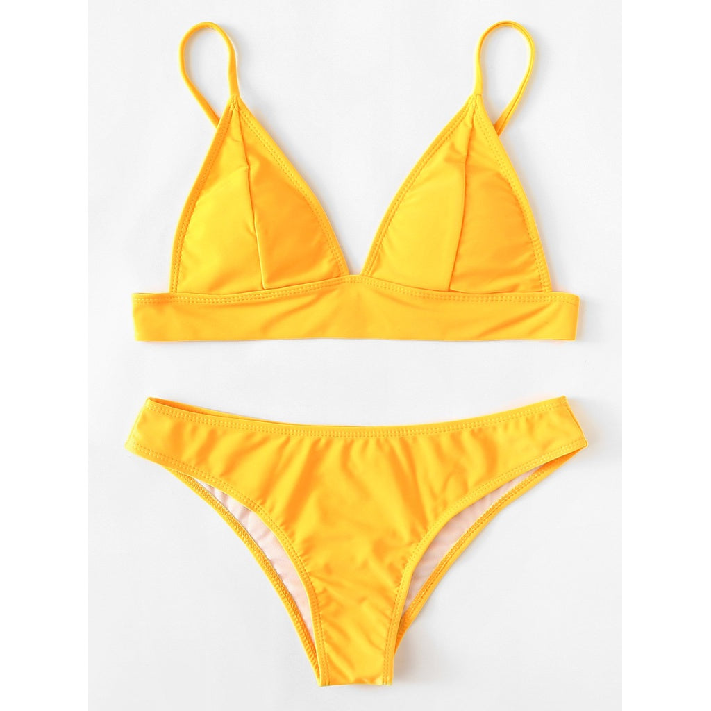 Adjustable Straps Bikini Set YELLOW