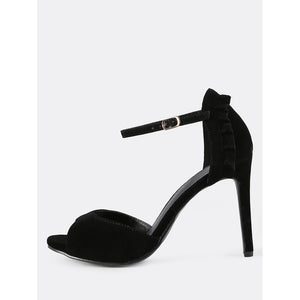 Ankle Strap Faux Suede Frill Heels BLACK - Anabella's