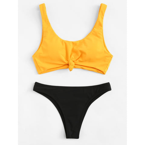 Mix And Match Knot Bikini Set YELLOW/BLACK