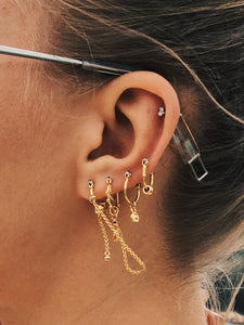 Ring & Chain Pendant Cut Hoop Earrings 4pcs
