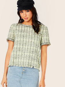 Plaid Raw Hem Tweed Top