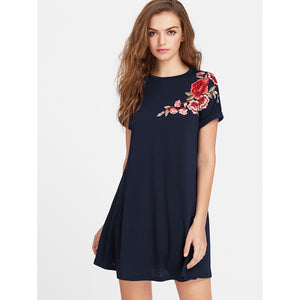 Embroidered Flower Applique Swing Tee Dress Navy