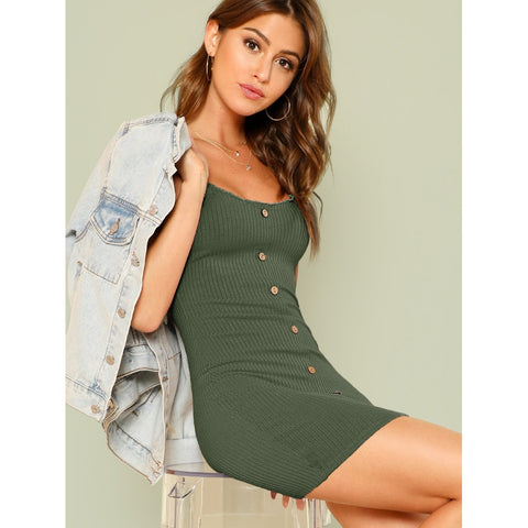 Lettuce Edge Trim Button Front Ribbed Dress