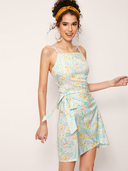 3e9ea5e502 Ditsy Floral Tie Back Wrap Cami Dress ...