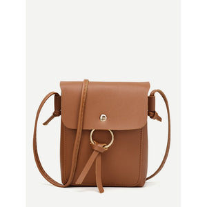 Metal Ring Flap Crossbody Bag Brown