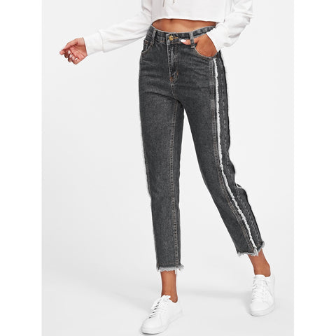 Frayed Trim Tapered Jeans Grey