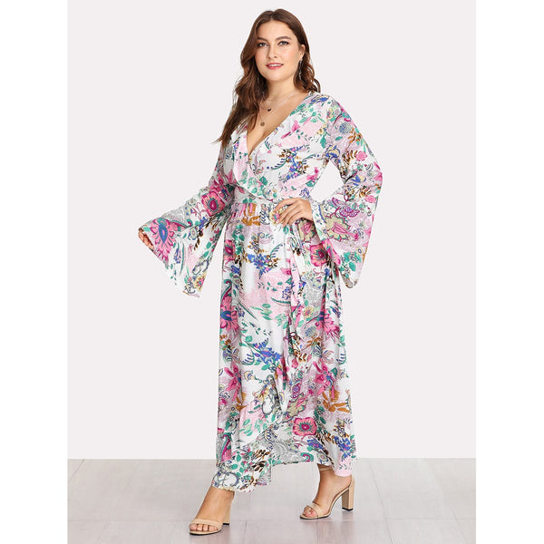 Trumpet Sleeve Ruffle Trim Wrap Dress MULTICOLOR - Anabella's