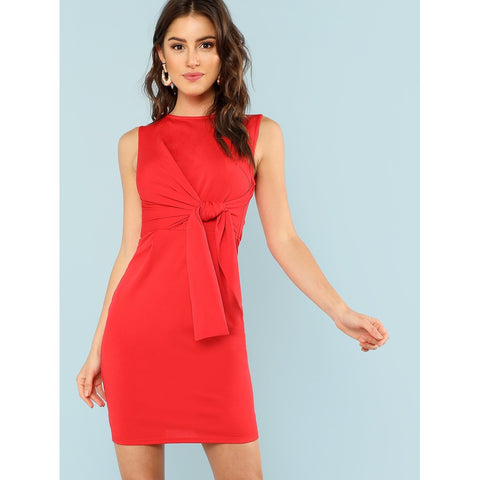 Knot Front Solid Shell Dress