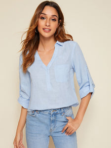Pocket Patched Rolled Tab Sleeve Top