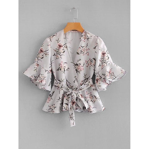 Botanical Print Ruffle Trim Wrap Blouse