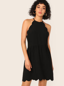 Scallop Edge Halter Dress