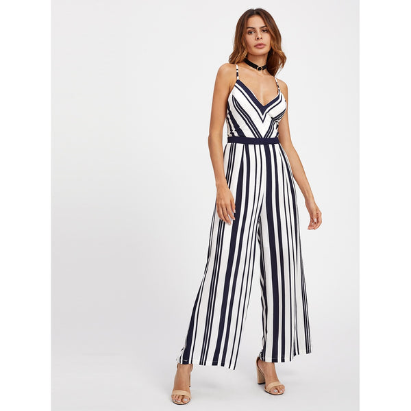 Backless Crisscross Tie Detail Striped Jumpsuit