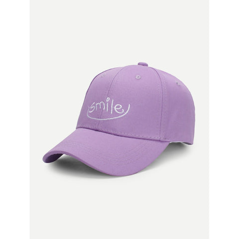 Embroidered Letter Baseball Cap SMILE Purple