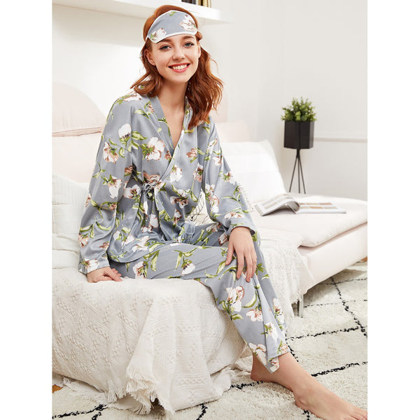 Botanical Print Wrap Top & Pants Pj Set