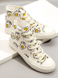Poached Egg High Top Canvas Sneakers