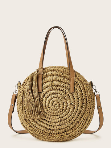 Tassel Decor Straw Satchel Bag