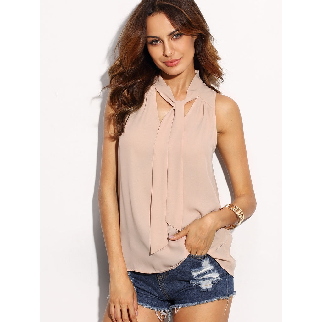 Self Tie Neck Top PINK - Anabella's