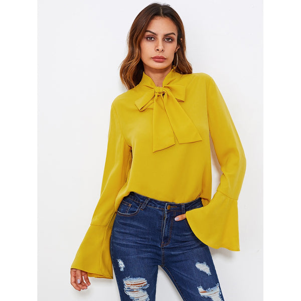 Bow Tied Neck Bell Cuff Curved Hem Blouse Yellow