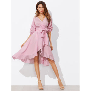 Surplice Wrap Flounce Dip Hem Pinstripe Dress