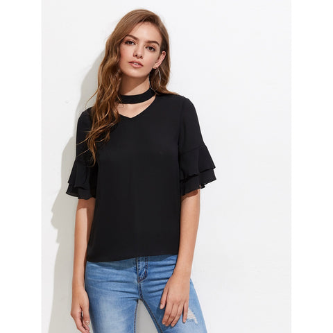 Choker Neck Layered Fluted Sleeve Top Black
