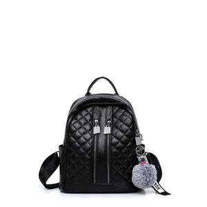 Pom Pom Detail Quilted PU Backpack