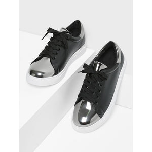 Two Tone Round Toe Sneakers BLACK - Anabella's