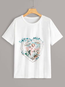 Angel And Floral Pirnt Tee