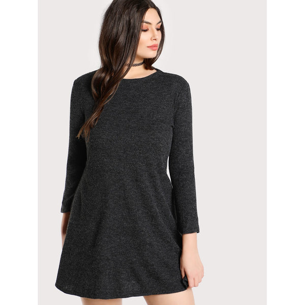 Heather Knit Tee Dress - Anabella's