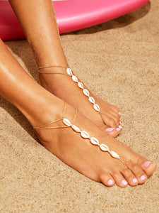 Shell Decor Chain Anklet With Toe 1pc