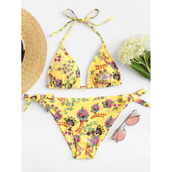 Calico Print Self Tie Bikini Set