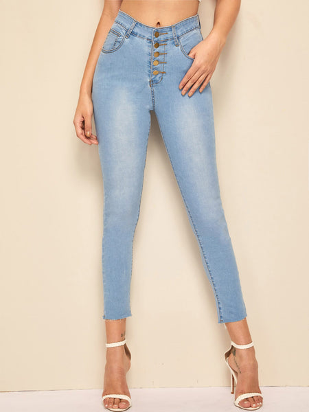 Stitch Detail Faded Wash Button Fly Jeggings