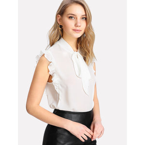 Tie Neck Ruffle Armhole Sleeveless Blouse White