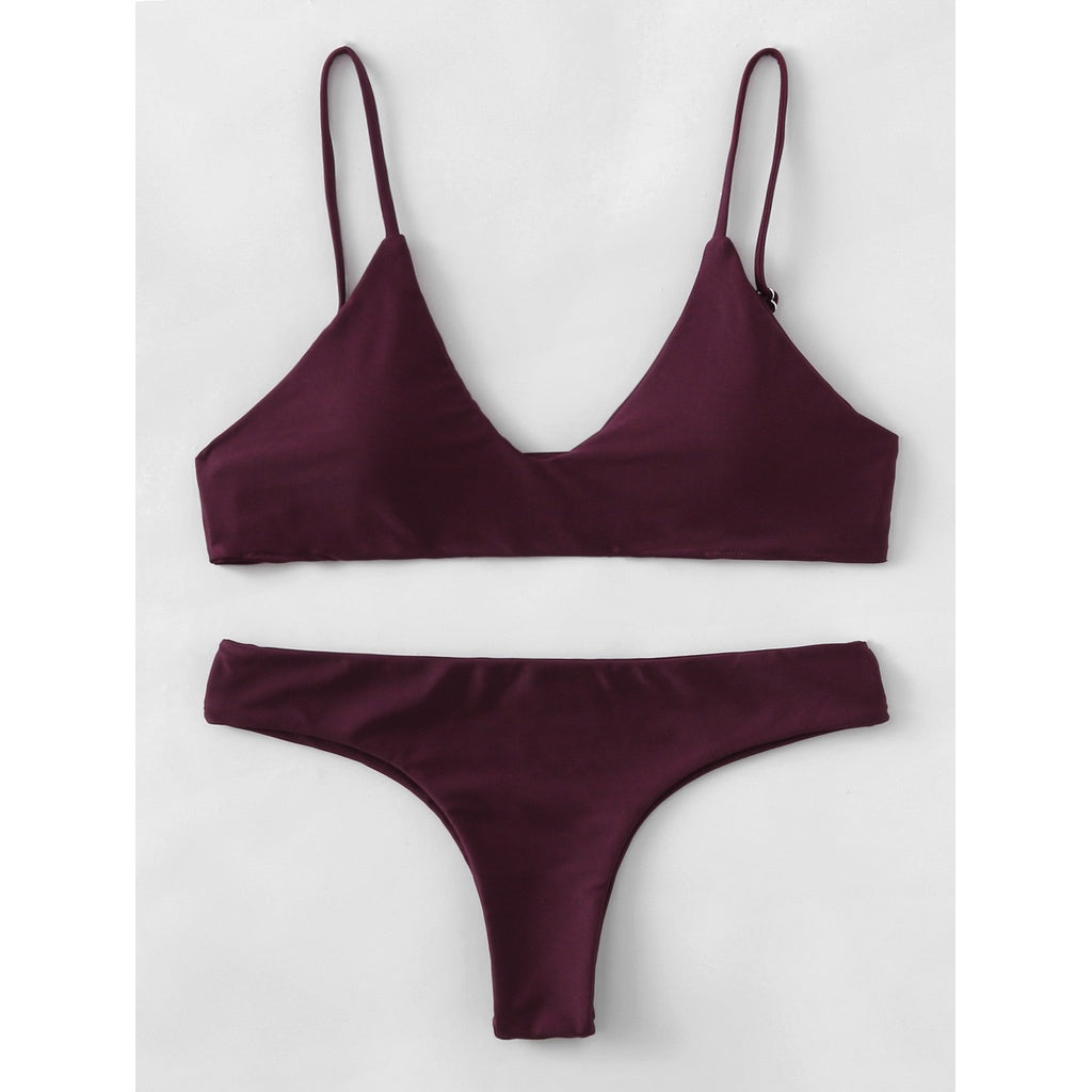 Adjustable Straps Plunge Neckline Bikini Set BURGUNDY