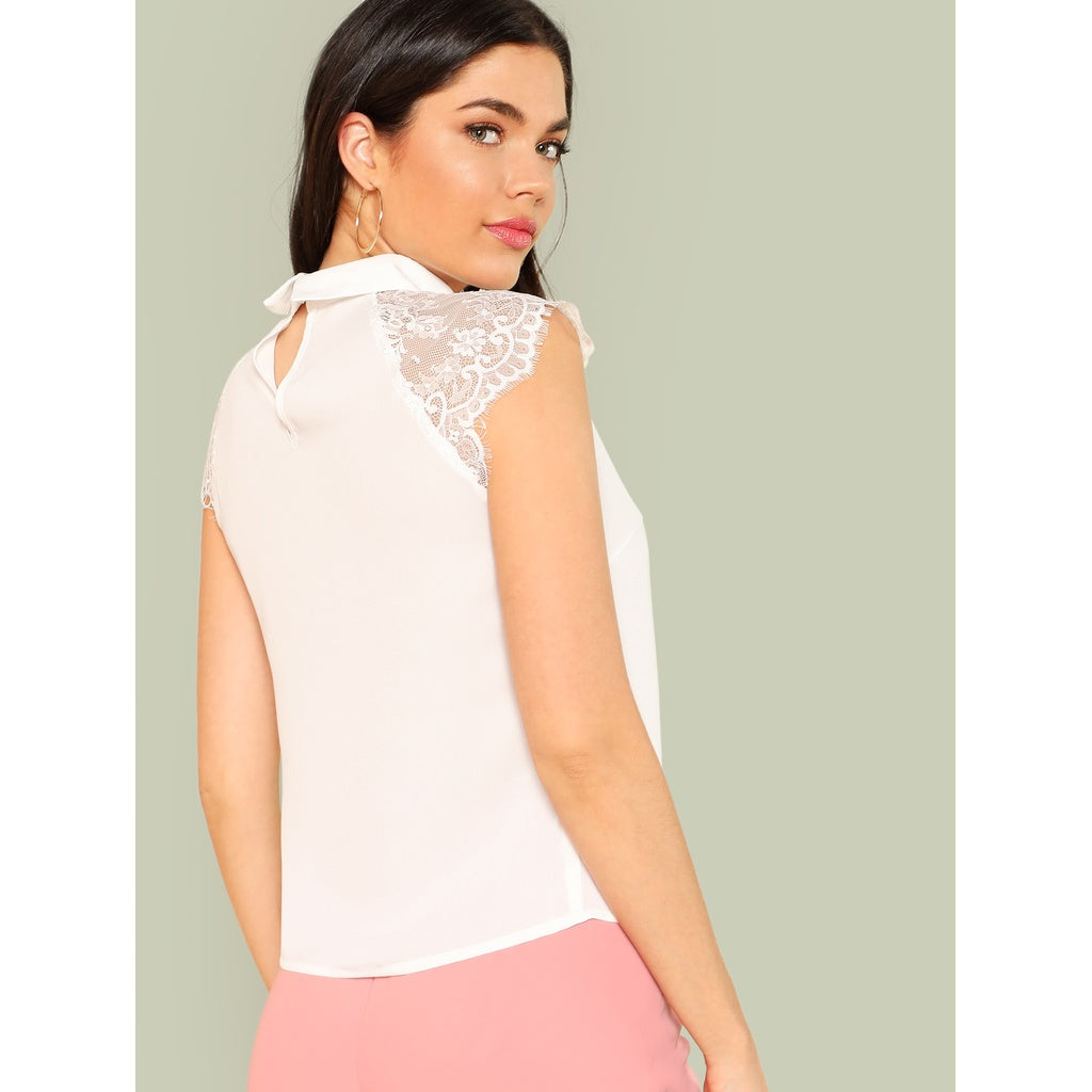 7401357f210fa ... Floral Lace Cap Sleeve Blouse White ...