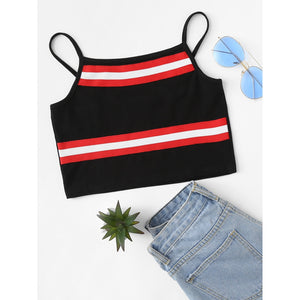 Striped Tape Detail Crop Cami Top - Anabella's