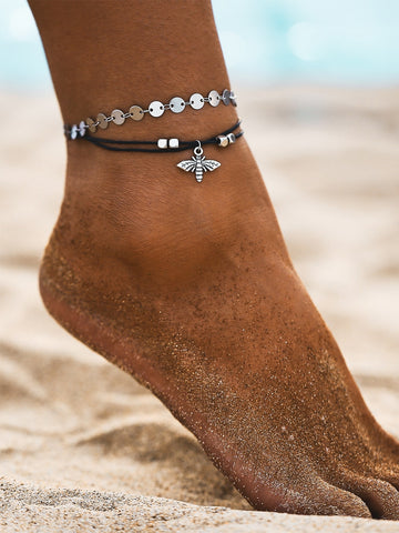 Bee & Disc Decor Anklet 1pc