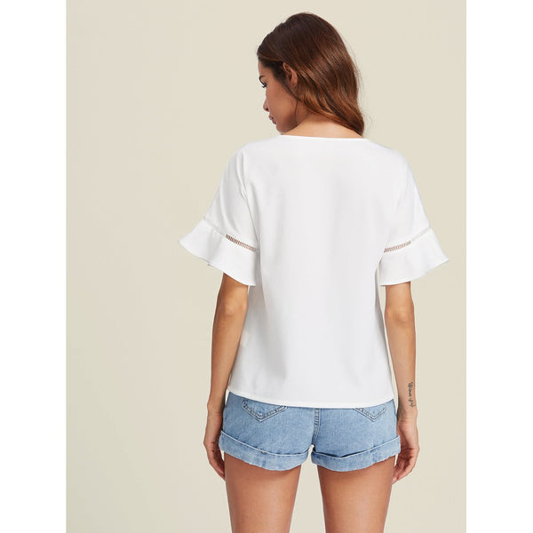 Ladder Lace Insert Trumpet Sleeve Top WHITE - Anabella's