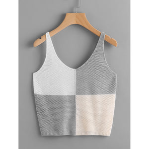 Color Block Knit Tank Top Grey