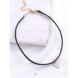Black Choker With Triangle Pendant