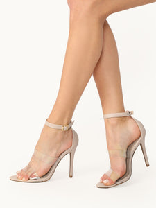 Pointy Sole Open Toe PVC Straps Stiletto Heels