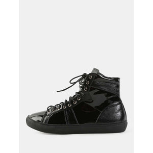 High Top Patent Leather Sneakers BLACK