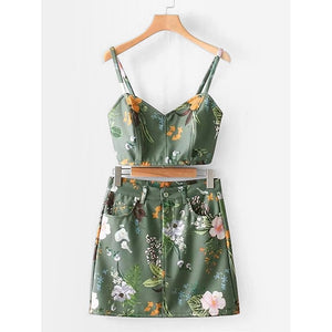 Botanical Print Crop Cami Top With Skirt