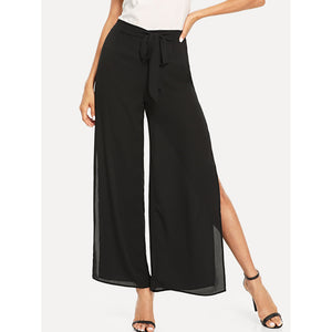 Self Belted Slit Wide Leg Pants Black