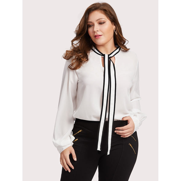 Self Tie Neck Blouse WHITE - Anabella's