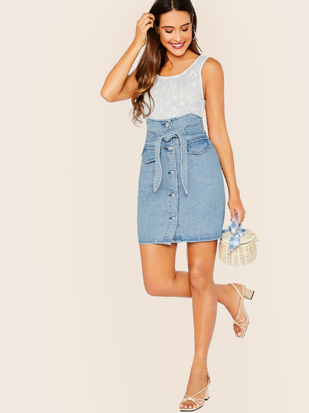 High Waist Tie Button Front Denim Pencil Skirt