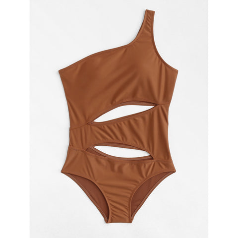 One Shoulder Cut Out Swimsuit BROWN